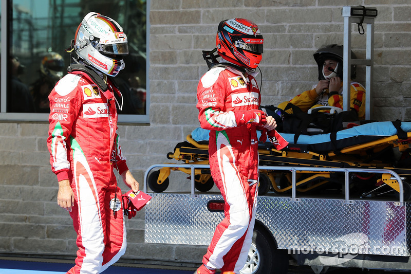 (L to R): Sebastian Vettel, Ferrari and team mate Kimi Raikkonen, Ferrari in qualifying parc ferme