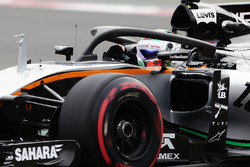 Sergio Pérez, Sahara Force India F1 VJM09 con la cubierta de la cabina de Halo