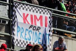 A banner for Kimi Raikkonen, Ferrari
