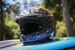 Le casque de Mads Østberg, M-Sport Ford Fiesta WRC