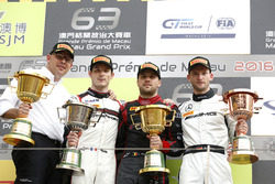 Podium: Race winner Laurens Vanthoor, Audi Sport Team WRT Audi R8 LMS; second place Kévin Estre, Manthey Racing Porsche 911 GT3-R; third place Maro Engel, Mercedes-AMG Driving Academy Mercedes-AMG GT3 with Chris Reinke, Head Audi Sport Customer Racing