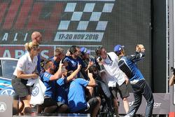 The Volkswagen Motorsport team celebrate