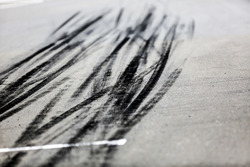Tyre marks in pitlane