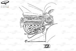 Компоновка двигателя Ferrari F1-91 (642) 1991 года