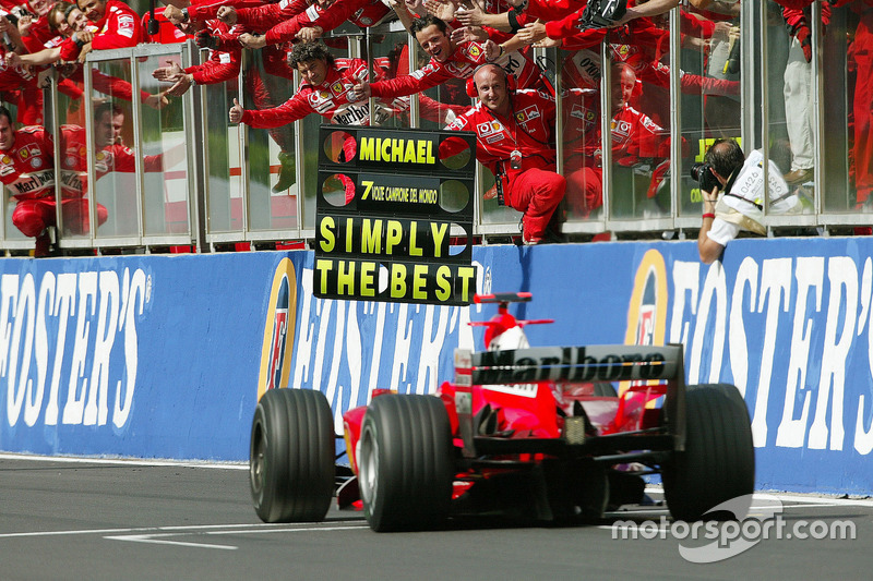 Second place finish and seventh World Championship for Michael Schumacher, Ferrari