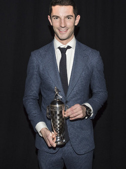 2016 Indy 500 winner Alexander Rossi with the baby Borg-Warner Trophy
