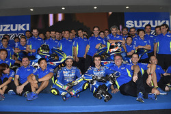 Andrea Iannone and Alex Rins with the 2017 Suzuki MotoGP and the team