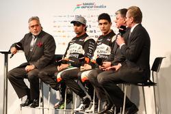 Andy Green, Sergio Perez Vijay Mallya, Esteban Ocon ve Otmar Szafnauer, Sahara Force India lansmanında