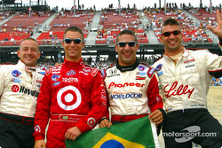 The Ronaldo look: The CART Brazilian drivers Cristiano da Matta, Bruno Junqueira, Tony Kanaan and Christian Fittipaldi celebrating Brazil's victory at the World Cup