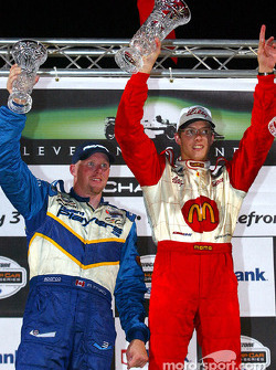 The podium: race winner Sébastien Bourdais with Paul Tracy