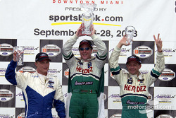 Podium: race winner Mario Dominguez with Roberto Moreno and Mika Salo