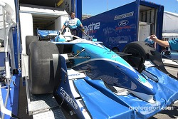 Patrick's car gets off loaded from the trailer Thursday morning