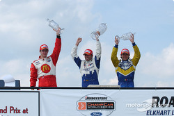 Podium: race winner Alex Tagliani with Rodolfo Lavin and Sébastien Bourdais