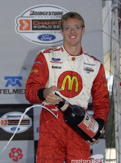 Pole winner Sébastien Bourdais celebrates