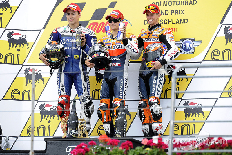 2011: 1. Dani Pedrosa, 2. Jorge Lorenzo, 3. Casey Stoner