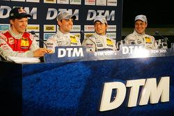 Press conference: Mattias Ekström, Audi Sport Team Abt, Jamie Green, Team HWA AMG Mercedes, pole winner Bruno Spengler, Team HWA AMG Mercedes, Gary Paffett, Team HWA AMG Mercedes