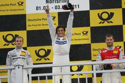Podium: race winner Bruno Spengler, Team HWA AMG Mercedes, second place Jamie Green, Team HWA AMG Mercedes, third place Martin Tomczyk, Audi Sport Team Phoenix