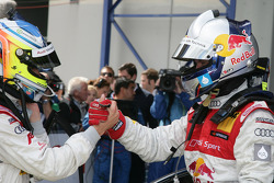 Race winner Mattias Ekström, Audi Sport Team Abt celebrates with Mike Rockenfeller, Audi Sport Team Abt