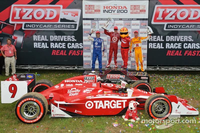 Race winner Scott Dixon, second place Dario Franchitti, third place Ryan Hunter-Reay
