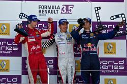Podium from Left: Alexander Rossi, Robert Wickens and Daniel RIcciardo