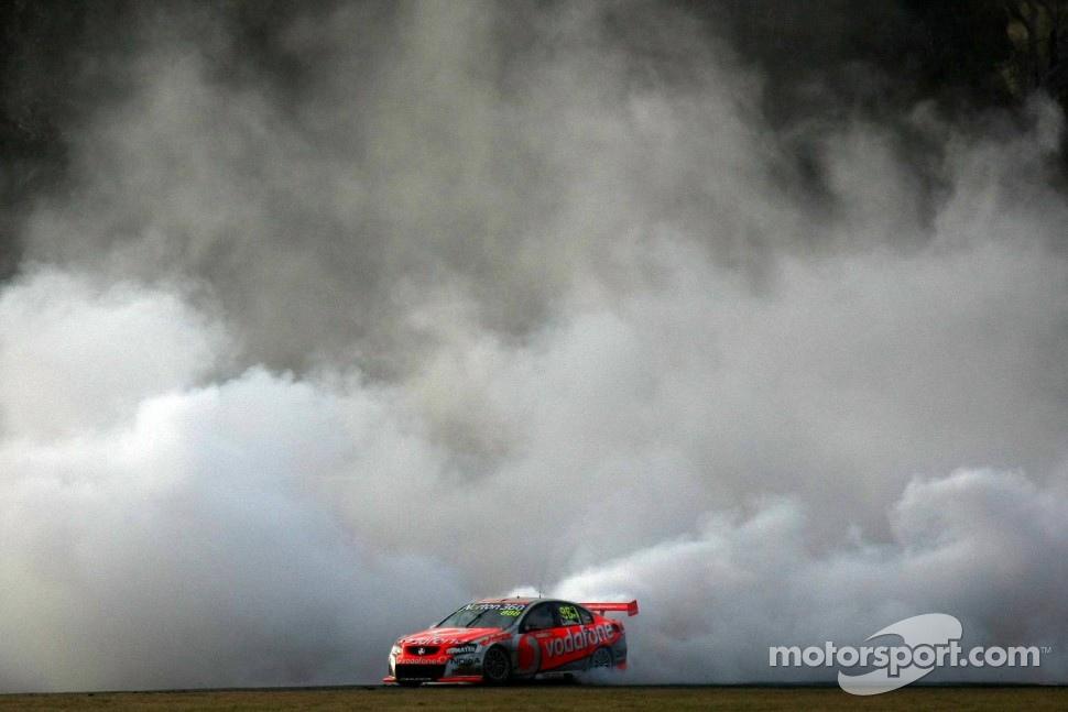 Craig Lowndes dose a celebration burnout