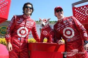 Dario Franchitti, Target Chip Ganassi Racing and Scott Dixon, Target Chip Ganassi Racing with Bullseye, the Target dog