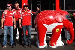 Felipe Massa, Scuderia Ferrari, Stefano Domenicali Ferrari General Director, Fernando Alonso, Scuderia Ferrari and an elephant