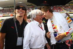 Bernie Ecclestone and Nicky Hayden, MotoGP rider, Sebastian Vettel, Red Bull Racing