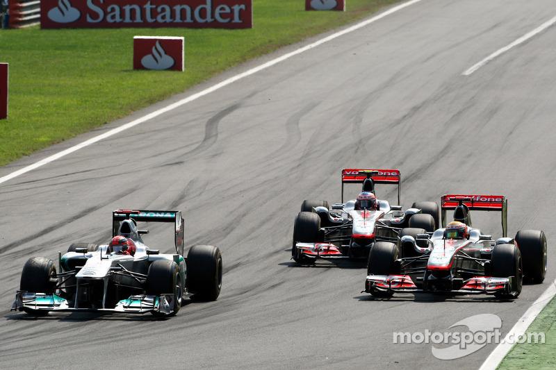 Michael Schumacher, Mercedes GP F1 Team, Lewis Hamilton, McLaren Mercedes, Jenson Button, McLaren Me