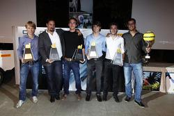Jules Bianchi, Esteban Gutierrez, Dani Clos and Johnny Cecotto, the GP2 Dallara trophy winners