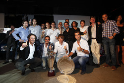 Alejandro Agag, Addax team principal, Charles Pic, Giedo Van der Garde and the addax team celebrate winning the GP2 teams Championship