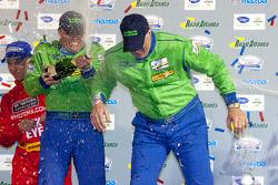 GTE-AM podium: class winners Nic Jonsson and Tracy Krohn celebrate