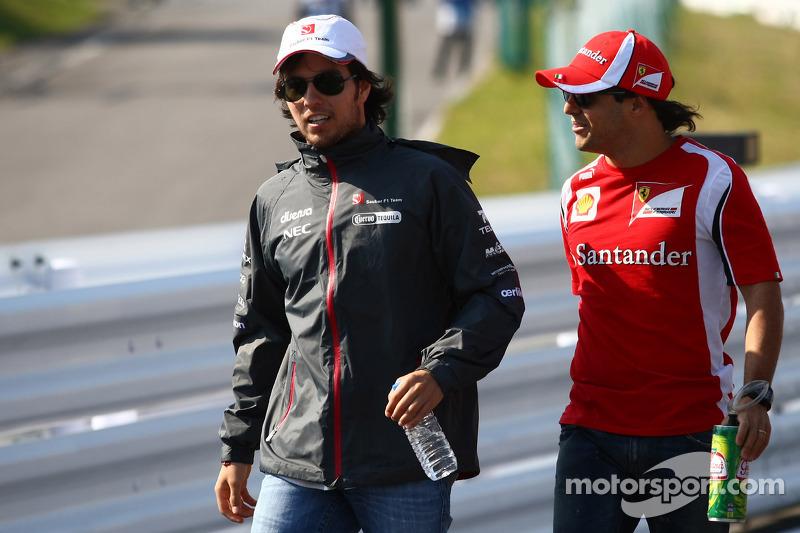 Sergio Perez, Sauber F1 Team and Felipe Massa, Scuderia Ferrari