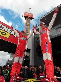 Race winners Garth Tander and Nick Percat celebrate