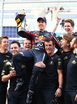 Sebastian Vettel, Red Bull Racing  celebrates the teams World championship