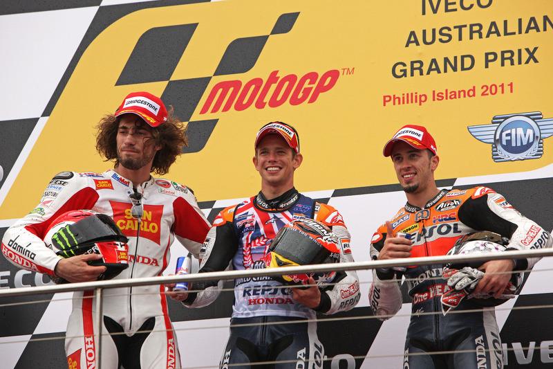 Podio: il vincitore Casey Stoner, secondo Marco Simoncelli, terzo Andrea Dovizioso