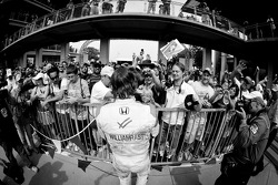 2011 Indy 500 race winner Dan Wheldon, Bryan Herta Autosport with Curb / Agajanian celebrates with emotional fans