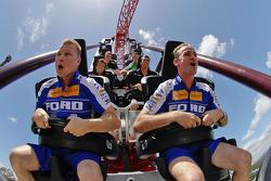 Will Davison and Mika Salo on a rollercoaster at Dreamworld