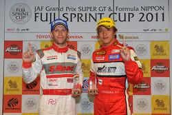 GT500 pole winner Ronnie Quintarelli, GT300 pole winner Katsuyuki Hiranaka