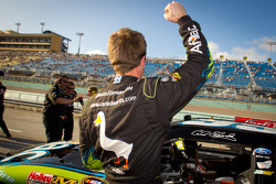 Pole winner Carl Edwards, Roush Fenway Racing Ford celebrates as he gets out of his car