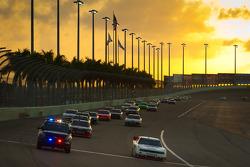 Brad Keselowski, Penske Racing Dodge leads the field under caution