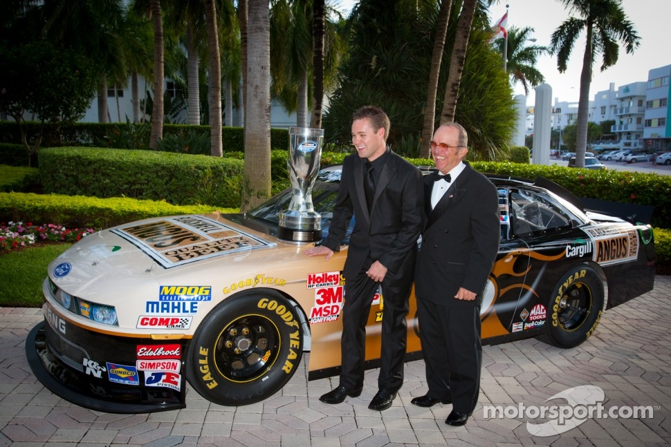 NASCAR Nationwide Series champion driver Ricky Stenhouse Jr., Roush-Fenway Ford with team owner Jack Roush
