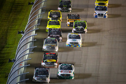 Johnny Sauter, ThorSport Racing Chevrolet leads the field