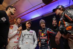 Jenson Button, Michael Schumacher, Sebastian Vettel and Travis Pastrana