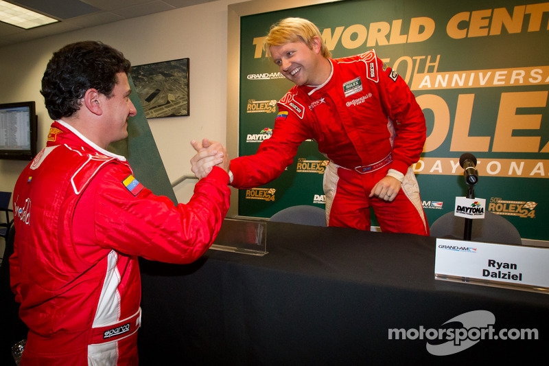 DP and overall pole winner Ryan Dalziel celebrates with Enzo Potolicchio