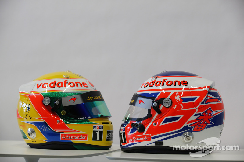 Lewis Hamilton, McLaren Mercedes and Jenson Button, McLaren Mercedes, helmets