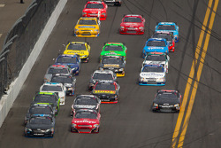 Mike Bliss, TriStar Motorsport Toyota and Dale Earnhardt Jr., JR Motorsports Chevrolet lead the field