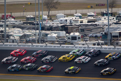 Brad Keselowski, Penske Racing Dodge and Justin Allgaier, Turner Motorsports Chevrolet battle for the lead