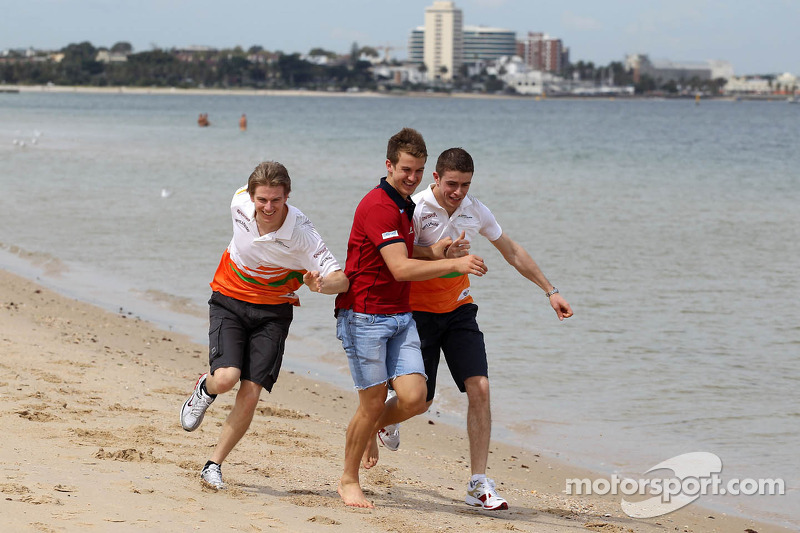 Nico Hulkenberg, Sahara Force India Formula One Team, Jack Trengove, Australian rules football player  and Paul di Resta, Sahara Force India Formula One Team