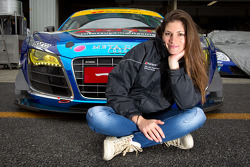 Cyndie Allemann poses with #21 Hitotsuyama Racing Audi R8 LMS
